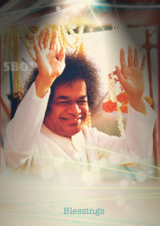 SATHYA SAI BABA BLESSINGS - BIG SMILE AND ABHYA HASTHA WHITER ROBE SWAMI