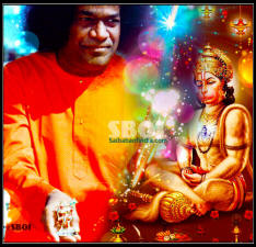 Swami with the materialized statue of Hanuman in His hand.