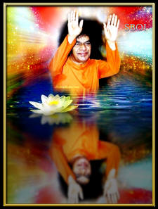 sathya-sai-baba-blessing-shadow in the water
