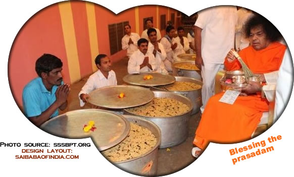 inspecting and blessing the prasadam