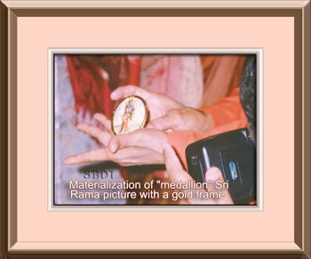 "sri sathya sai baba  Materialization of ""medallion"" Sri Rama picture with a gold frame"
