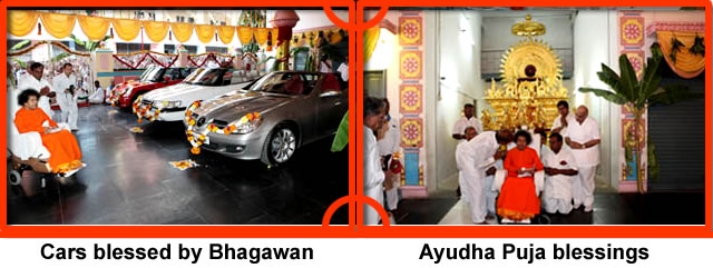 Nine cars blessed by Bhagawan's sanctifying touch at some point of time were ready at the eastern corner of the spacious hall awaiting Ayudha Puja blessings on this auspicious Durgashtami evening. Heading this group was the grand Golden Chariot.