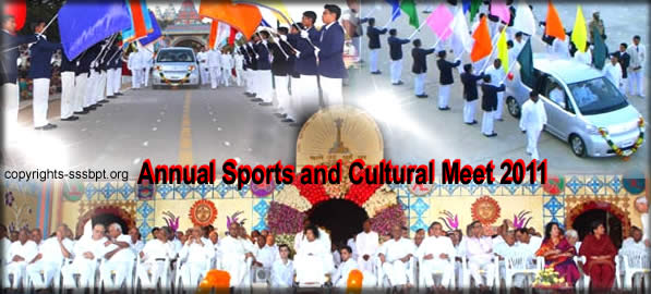 Tue, Jan 11, 2011: Annual Sports and Cultural Meet 2011 of SSSIHL and Sri Sathya Sai Institutions got underway this evening at Sri Sathya Sai Vidyagiri Hill View Stadium in the immediate presence of the Divine Chancellor.
