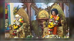 The Murthy Sthapana of Bhagavan Sri Sathya Sai Baba was celebrated in Sai Prem Mandir, in Vashi on the 14th December. There was houseful devotees, who witnessed the Holy event. Tears of Joy was seen among all devotees who saw the curtain being pulled out, and Swami's idol was seen by everybody. Sri Indulala Shah and Smt. Saralaben Shah were present during the function.