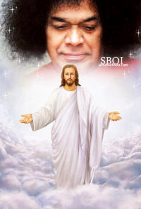 JESUS AND SATHYA SAI BABA WALLPAPER POSTER PICTURE CHRISTMAS